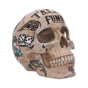 Natural Bone Coloured Traditional, Tribal Tattoo Fund Skull