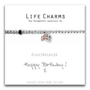 Happy Birthday Hearts Life Charms Bracelet