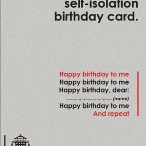 Approved self-isolation birthday card