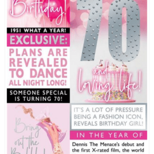 The Birthday Times Age Cards 2021 - Female 70