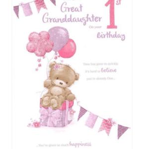 Great Granddaughter 1st Birthday Card