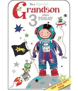 Grandson 3rd Birthday Card
