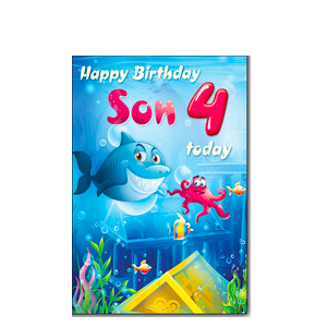 Son 4th Birthday Card