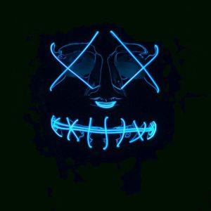 LED Neon Blue Light Up Purge Mask Adults
